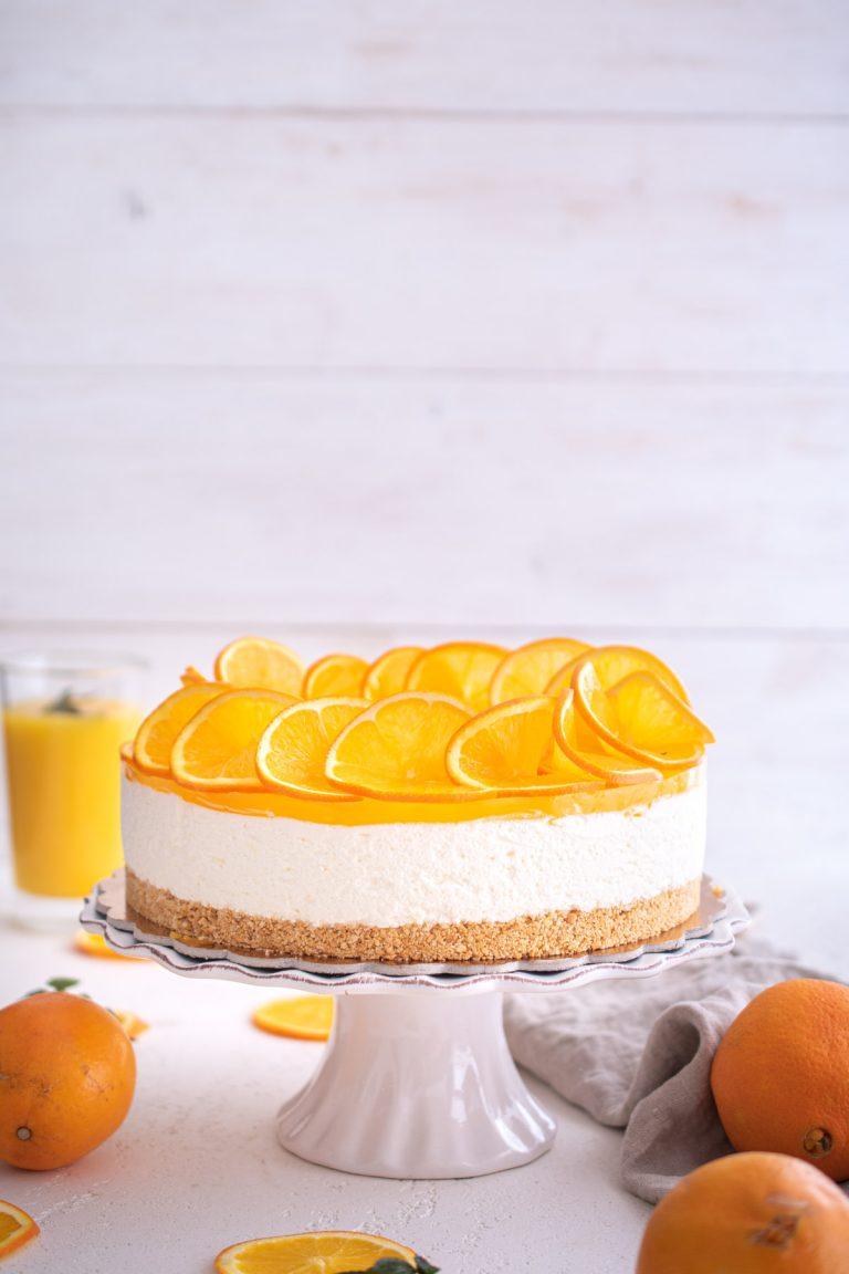 Orange cake, shot from front.