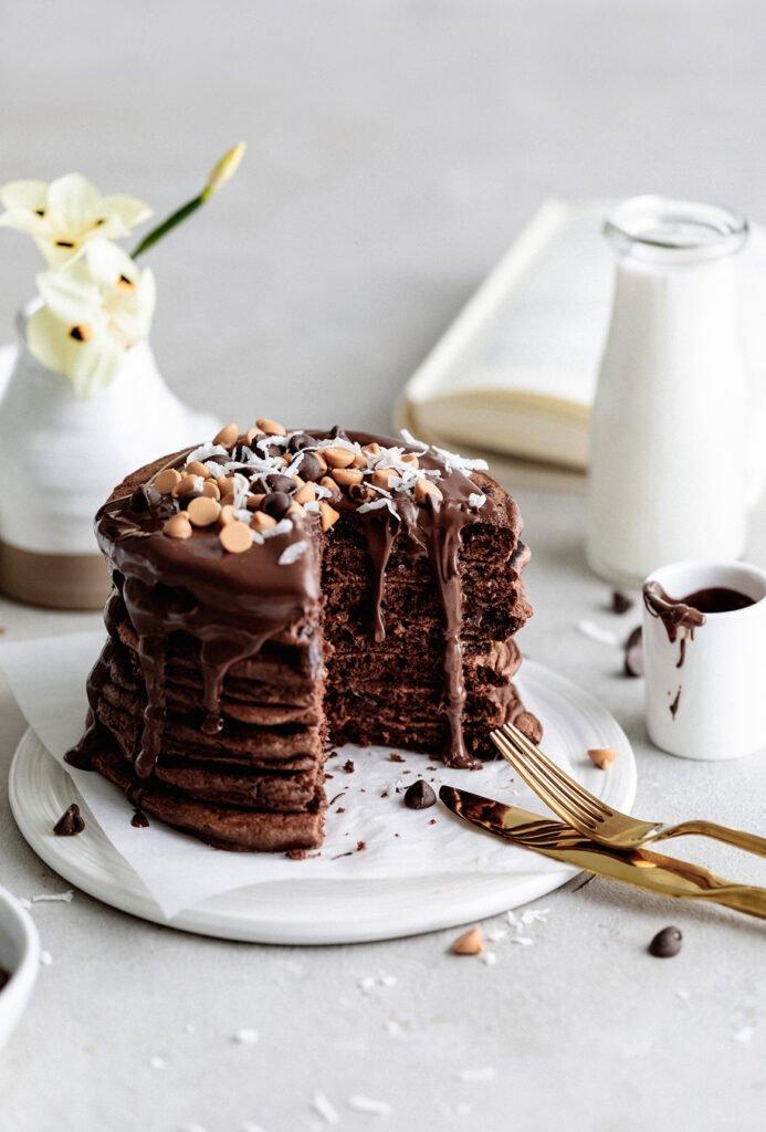 Puhaste slastne čokoladne palačinke